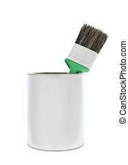 Paint can with green brush