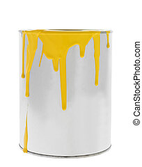 Messy Yellow Paint can isolated on white background