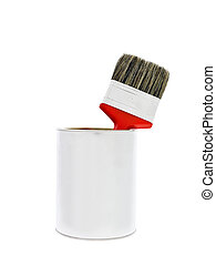 Paint can with red brush