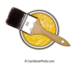 Yellow Paint can with brush from above isolated on white...
