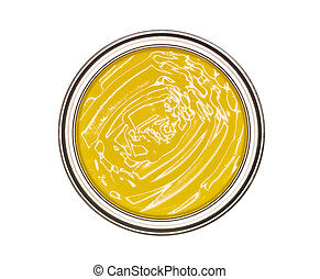 Yellow Paint can from above isolated on white background