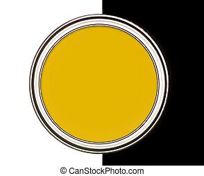 Yellow Paint can on black and white background