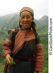 Hmong flowered Grandmother - This grandmother was part...