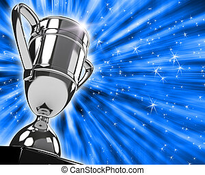 Awarding cup over white backgound. Computer generated image