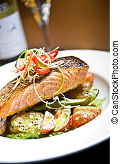 Seared Samon - Seared Salmon with Pesto Potatoes