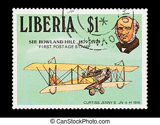 Sir Rowland Hill - mail stamp printed in Liberia...