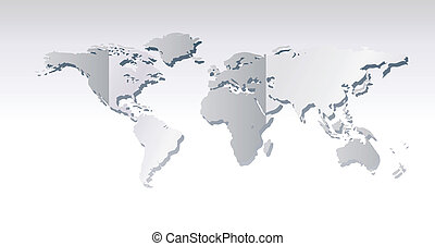 Light grey world map illustration - World map with grey to...
