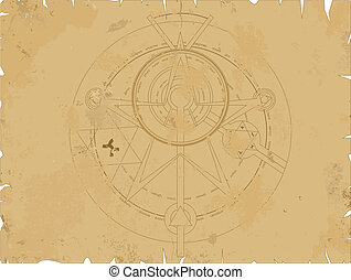 Old scroll with alchemy pentagram, vector illusration