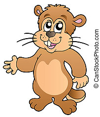 Cartoon groundhog on white background - vector illustration.
