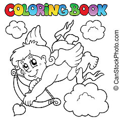 Coloring book with Cupid 1 - vector illustration.