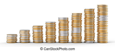 Progress and wealth: golden and silver coins stacks over...