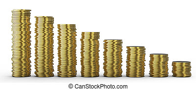 Progress or loss: coins stacks over white background
