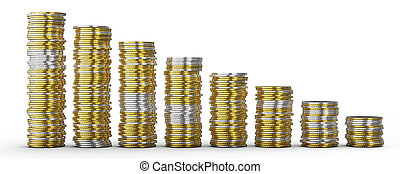 Success or drop: golden and silver coins stacks over white