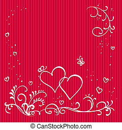 Red valentine background with hearts