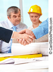 Successful agreement - Image of customer and architect...