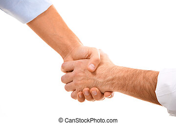 Man?s handshake - Image of man?s handshake isolated on white...