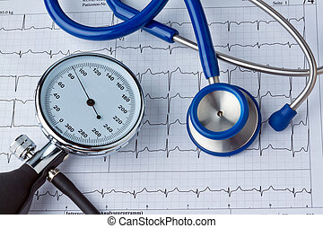 Blood pressure measurement and ECG curve. Sickness caused by...