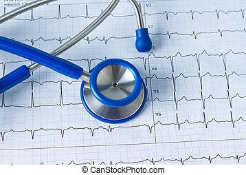 stetoskop, ecg, krzywa