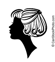 Beautiful woman silhouette with stylish hairstyle vector icon