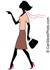 Vector silhouette beauty business woman with bag
