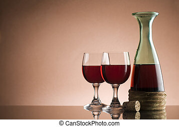 Red wine - Bottle with red wine and glass close up