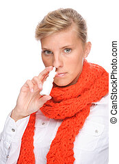 Woman with nasal spray - Full isolated portrait of a...
