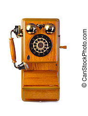 Vintage wood telephone isolated on white