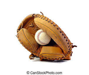 Vintage catchers mitt on white background