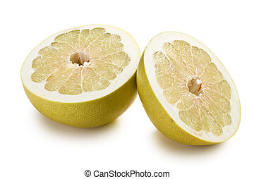 two halves of pomelo fruit on white background