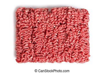 raw minced meat on white background