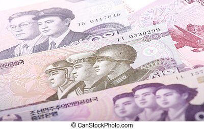 North Korean Won - Banknote of North Korea, collage