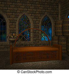 magic window in a fantasy setting. 3D rendering of a fantasy theme for background usage.