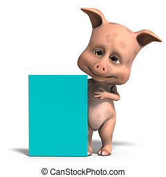 invitation from a cute and funny toon pig. 3D rendering with...