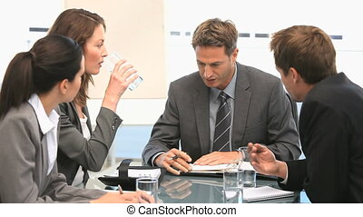 Businesspeople having a discussion during a meeting in an...