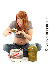 Pregnancy Pickles and Ice Cream - Beautiful pregnant woman...