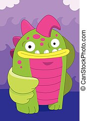 Fish looking alien monster cartoon - Amphibian fish looking...