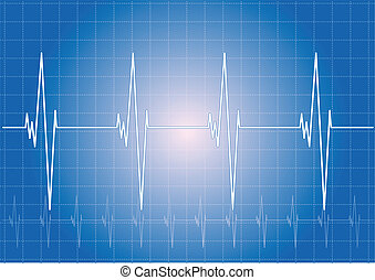 heart - Heart rhythm on the blue display.