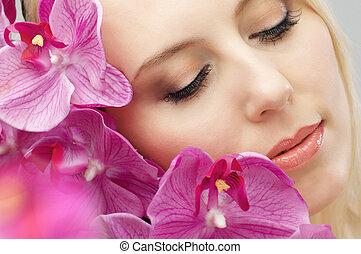 flower girl - beauty flower girl on the flower background