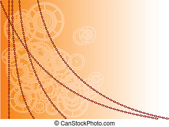 industry - Orange vector background with chain