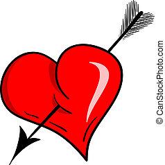 heart arrow - Vector heart with arrow isolated on the white.