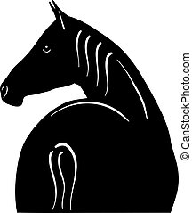 horse - Black silhouette of horse isolated on the white.