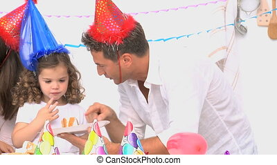 Family enjoying a birthday party