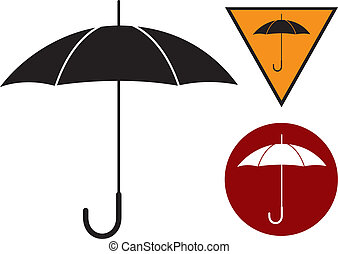 umbrella - Black silhouette of umbrella on the white.