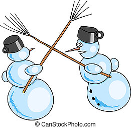 snowmans battle - Two snowman fighted by besoms.