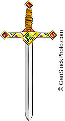 Sword - Ancient gold sword isolated on the white