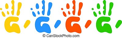 Hand Prints - Four colourful childlike hand prints set out...