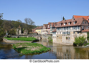 Schwabisch Hall, Germany - Old Town and Kocher River in...