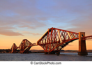 The Forth Rail Bridge crossing between Fife and Edinburgh,...