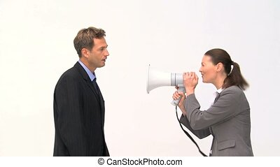 Woman shouting megaphone on a man against a white background