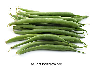 Bush beans - Bunch of raw bush beans isolated on white...